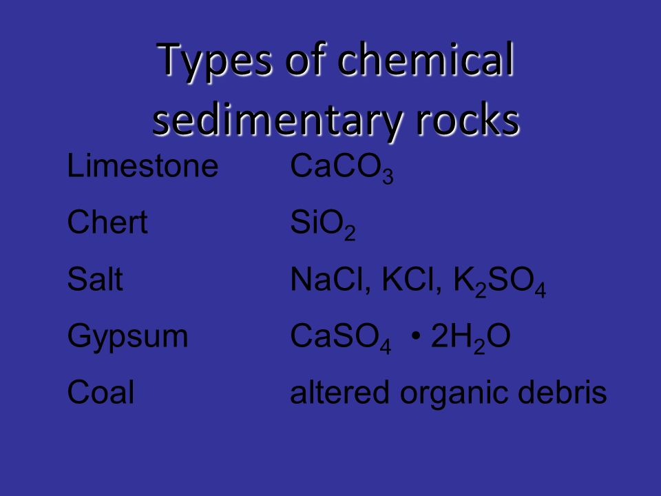 Types of chemical sedimentary rocks
