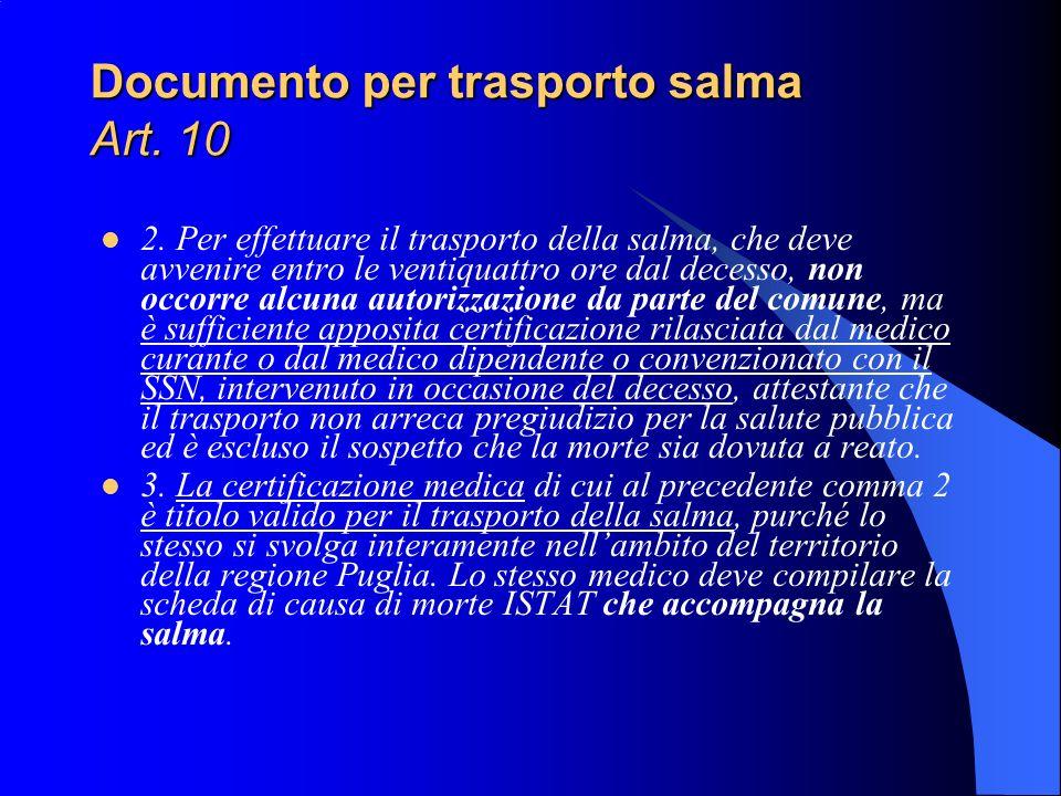 Documento per trasporto salma Art. 10