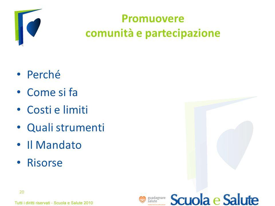 Promuovere comunità e partecipazione