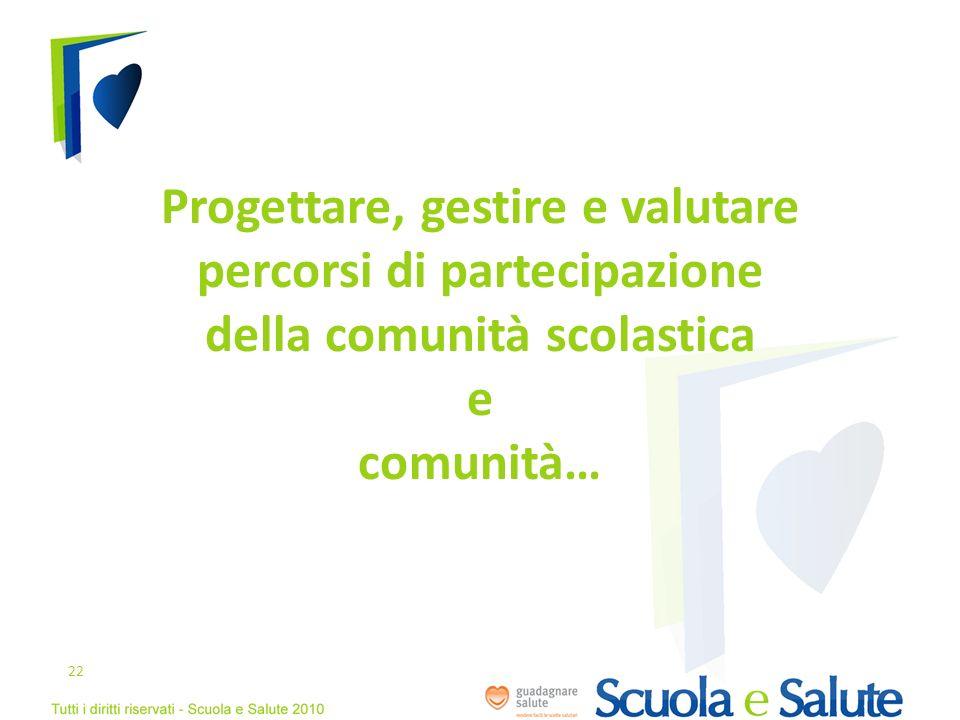 Progettare, gestire e valutare percorsi di partecipazione della comunità scolastica e comunità…