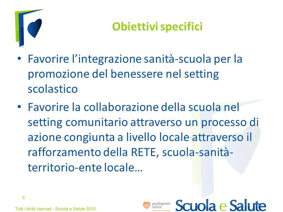 Obiettivi specificiFavorire l'integrazione sanità-scuola per la promozione del benessere nel setting scolastico.
