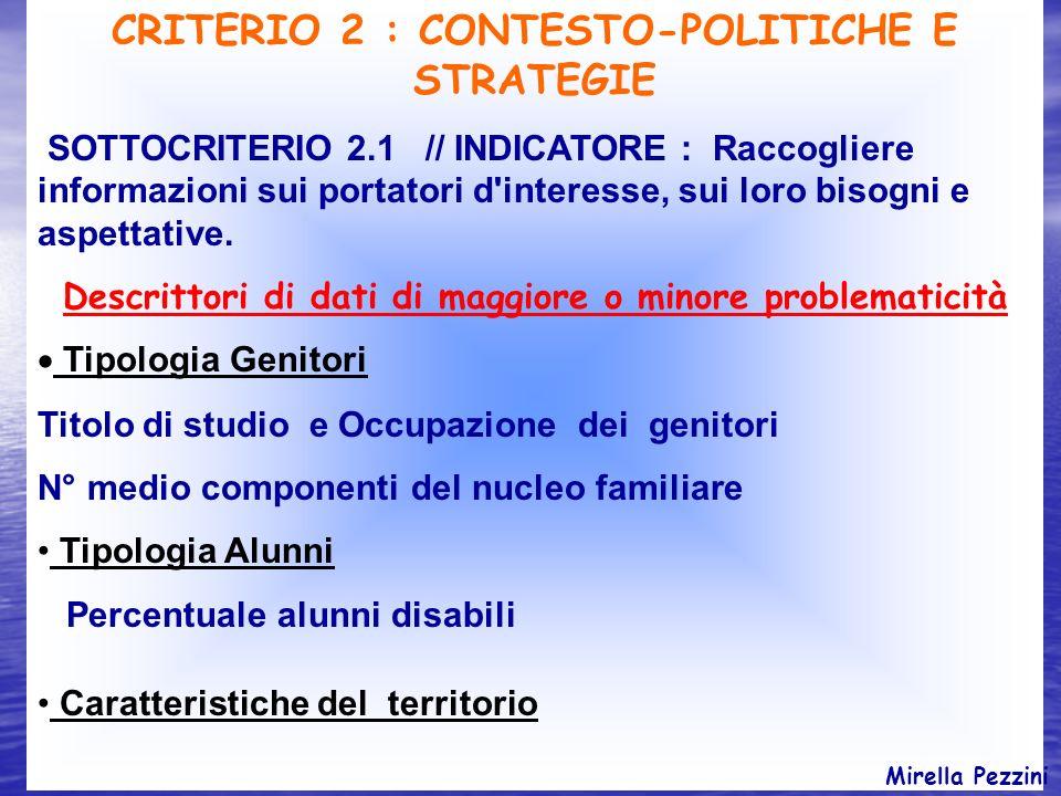 CRITERIO 2 : CONTESTO-POLITICHE E STRATEGIE