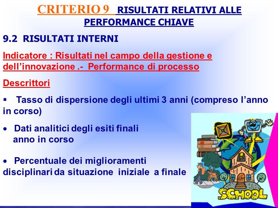 CRITERIO 9 RISULTATI RELATIVI ALLE PERFORMANCE CHIAVE