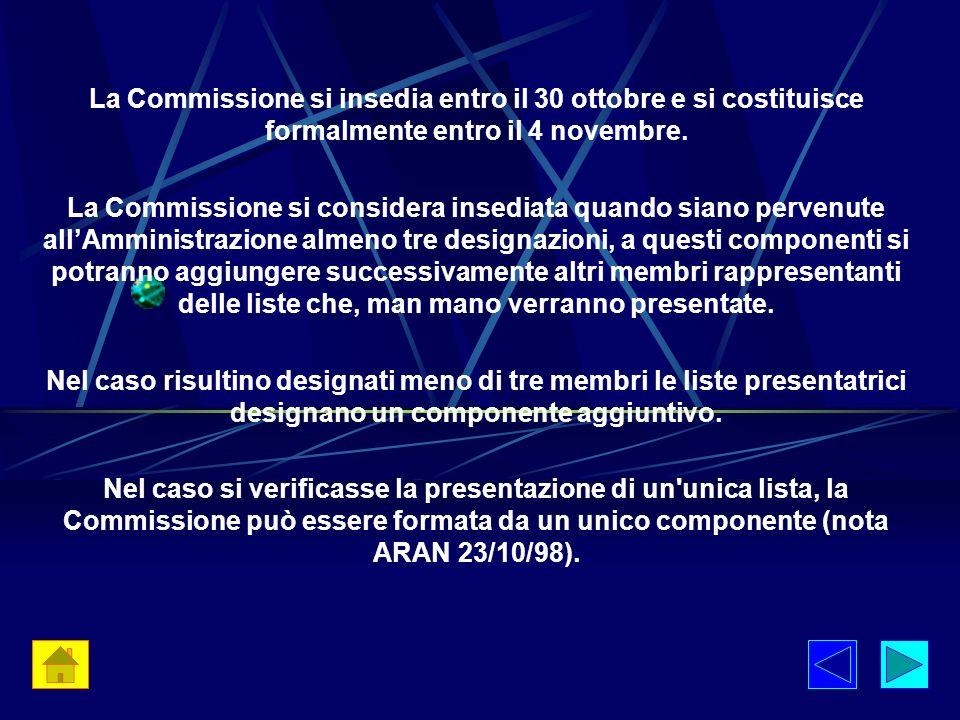 La Commissione si insedia entro il 30 ottobre e si costituisce formalmente entro il 4 novembre.