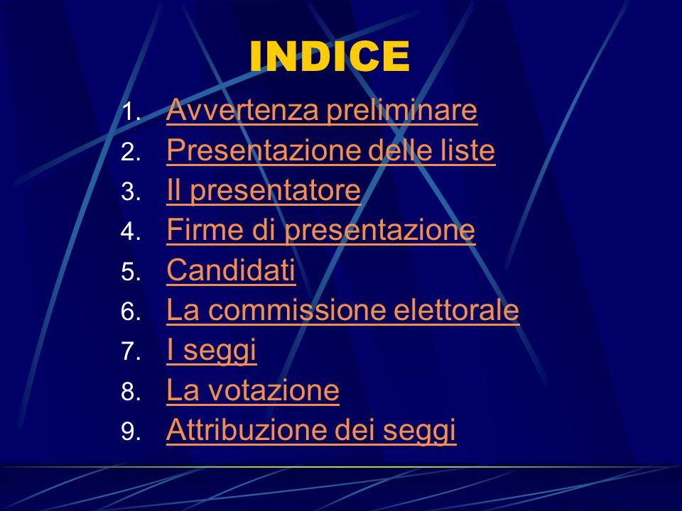 INDICE Avvertenza preliminare Presentazione delle liste