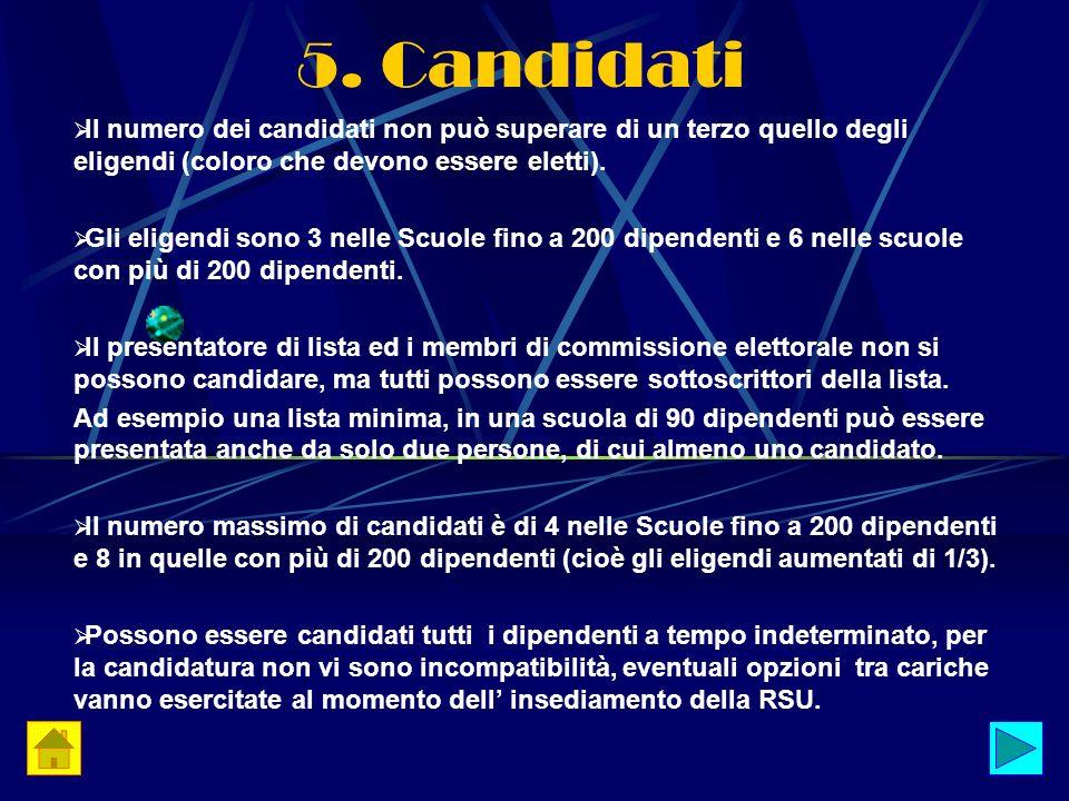 5. Candidati Il numero dei candidati non può superare di un terzo quello degli eligendi (coloro che devono essere eletti).