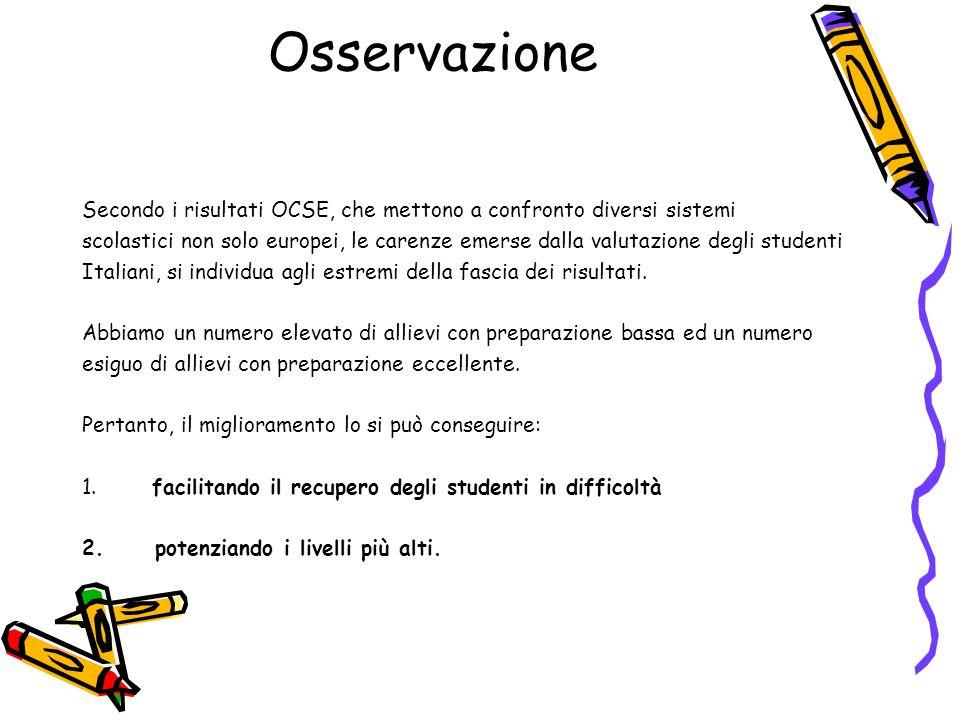 Osservazione Secondo i risultati OCSE, che mettono a confronto diversi sistemi.