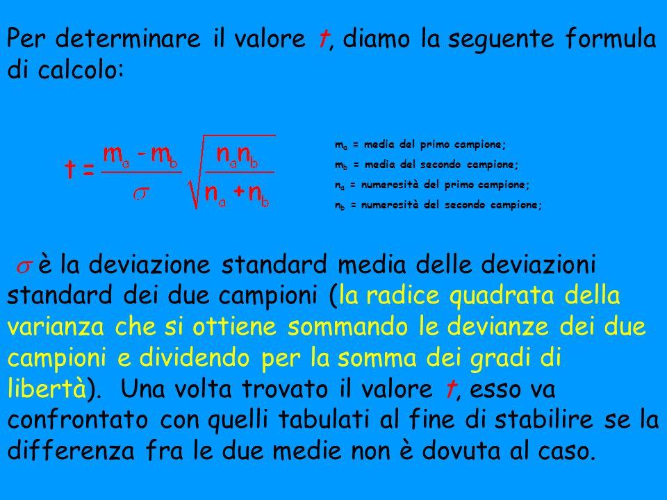 Per determinare il valore t, diamo la seguente formula di calcolo: