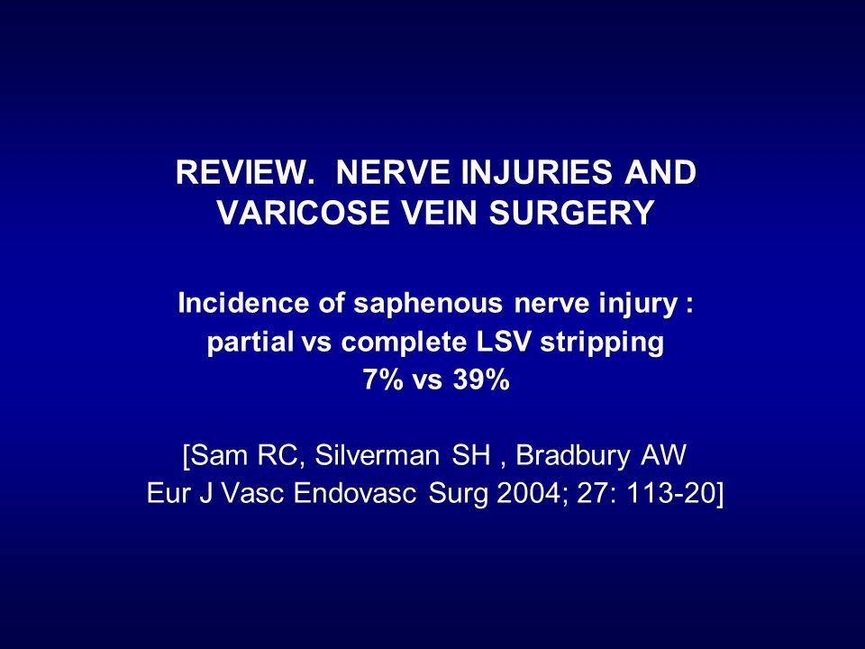 REVIEW. NERVE INJURIES AND VARICOSE VEIN SURGERY