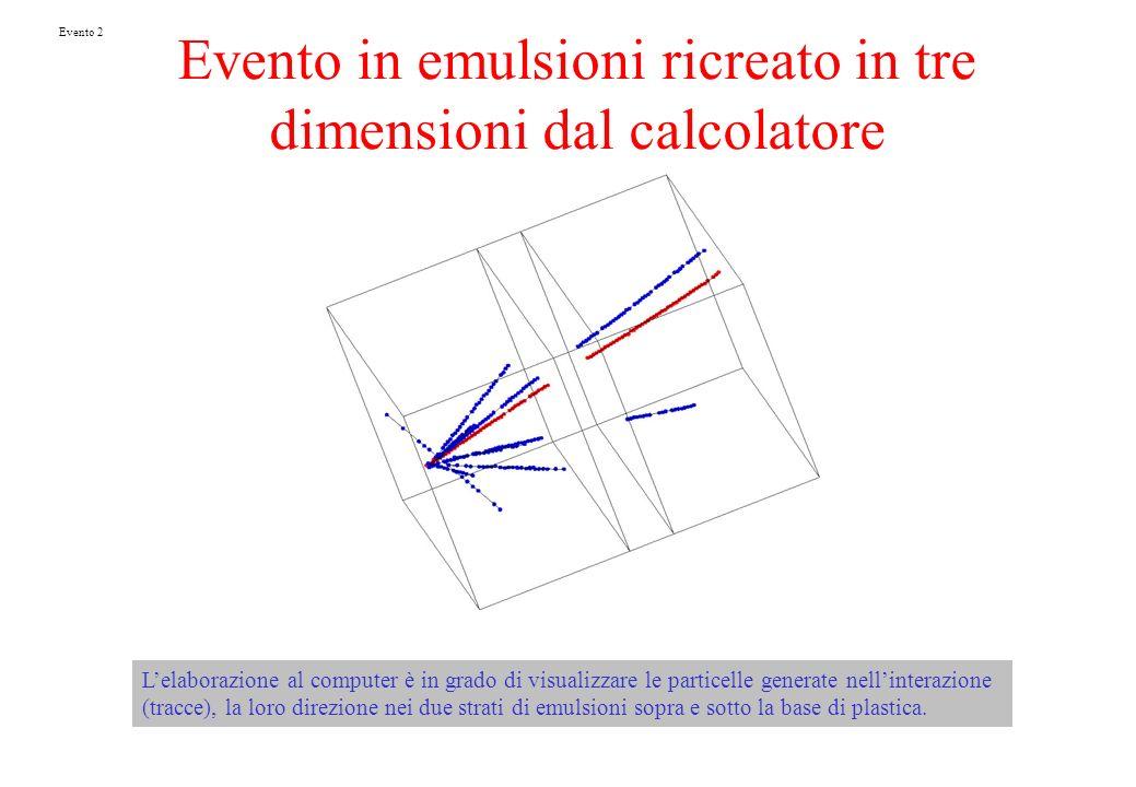 Evento in emulsioni ricreato in tre dimensioni dal calcolatore