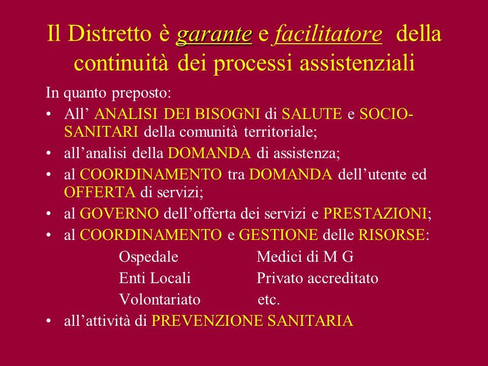 Il Distretto è garante e facilitatore della continuità dei processi assistenziali