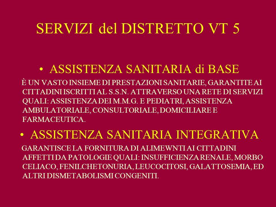 SERVIZI del DISTRETTO VT 5