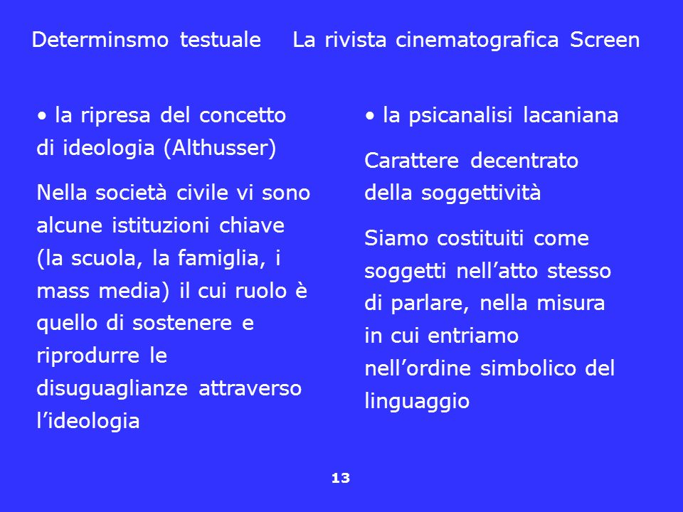 Determinsmo testuale La rivista cinematografica Screen