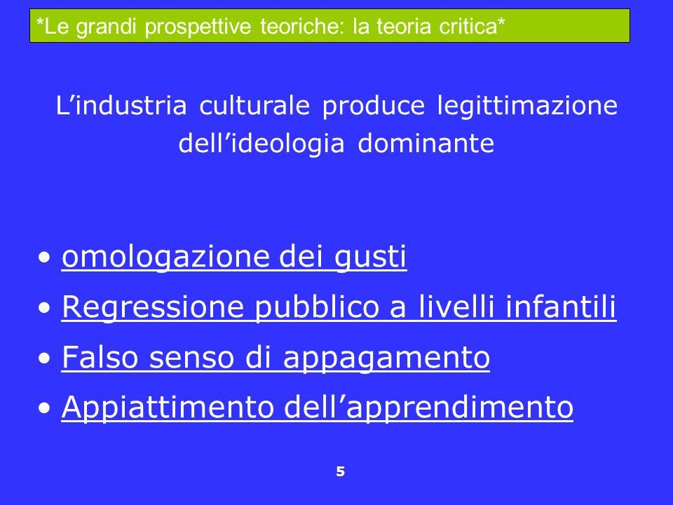 L'industria culturale produce legittimazione dell'ideologia dominante