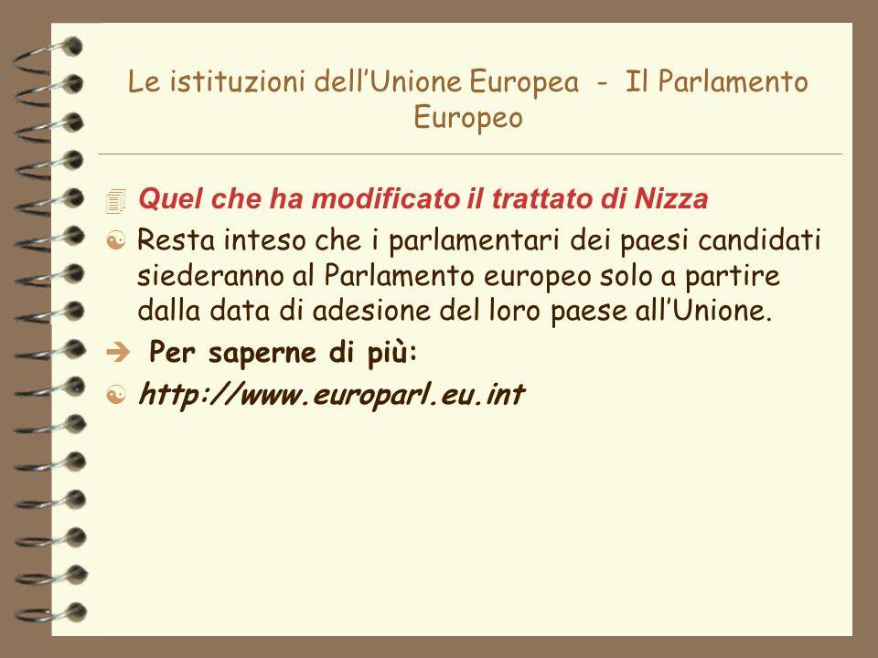 Le istituzioni dell'Unione Europea - Il Parlamento Europeo