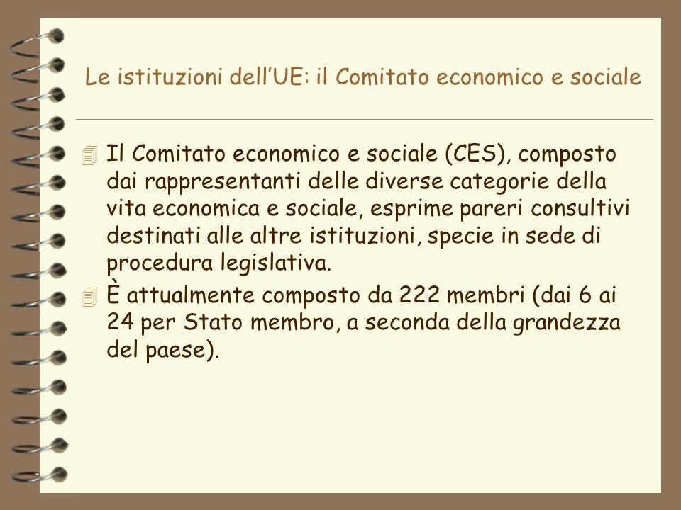 Le istituzioni dell'UE: il Comitato economico e sociale