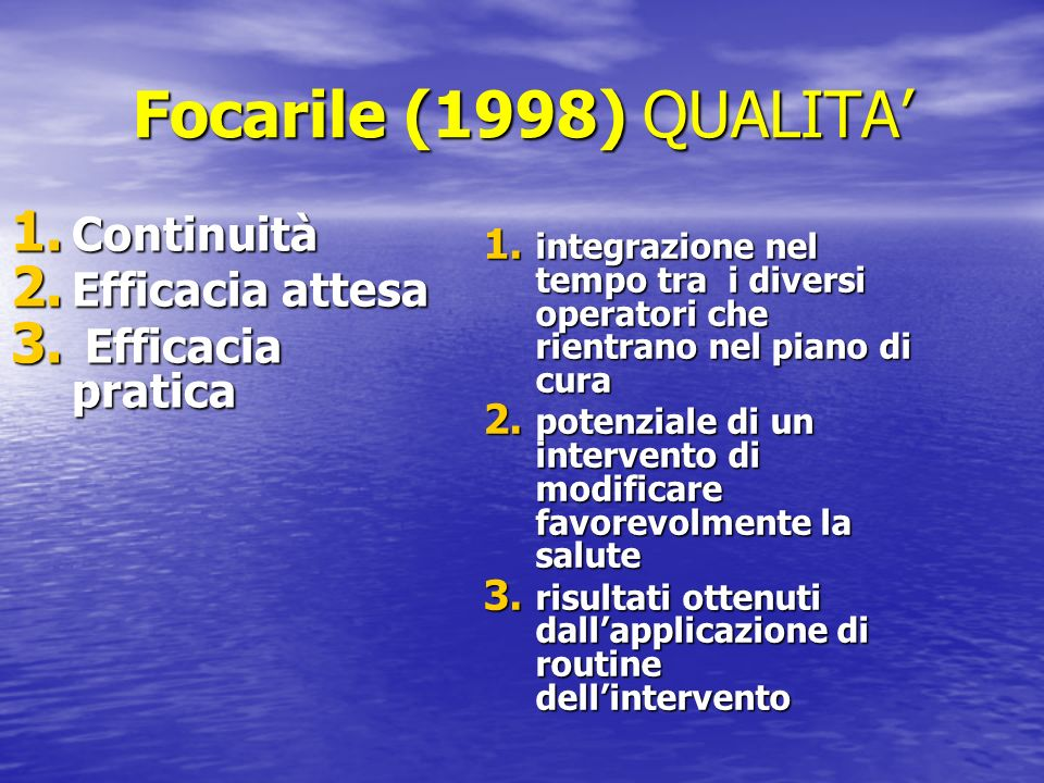 Focarile (1998) QUALITA' Continuità Efficacia attesa Efficacia pratica