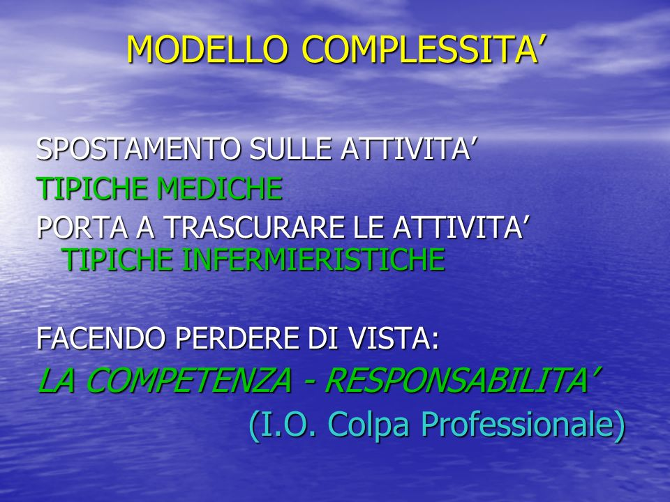 MODELLO COMPLESSITA' LA COMPETENZA - RESPONSABILITA'