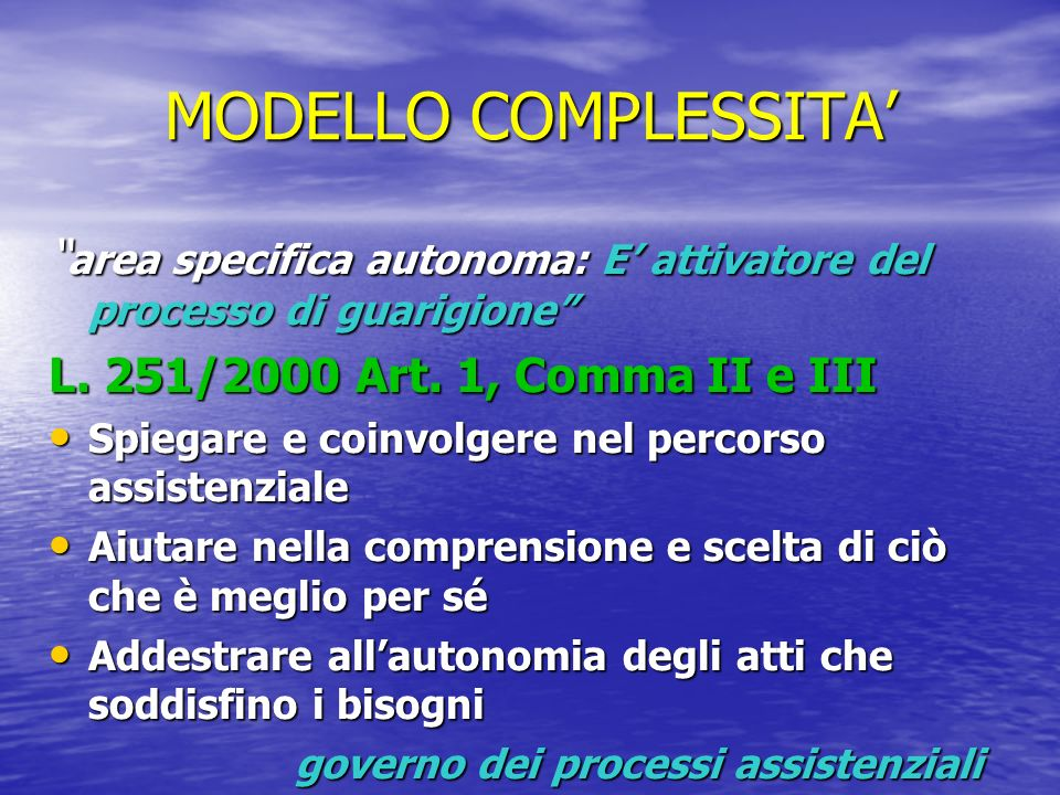 MODELLO COMPLESSITA' area specifica autonoma: E' attivatore del processo di guarigione L. 251/2000 Art. 1, Comma II e III.