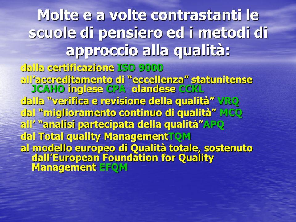 Molte e a volte contrastanti le scuole di pensiero ed i metodi di approccio alla qualità: