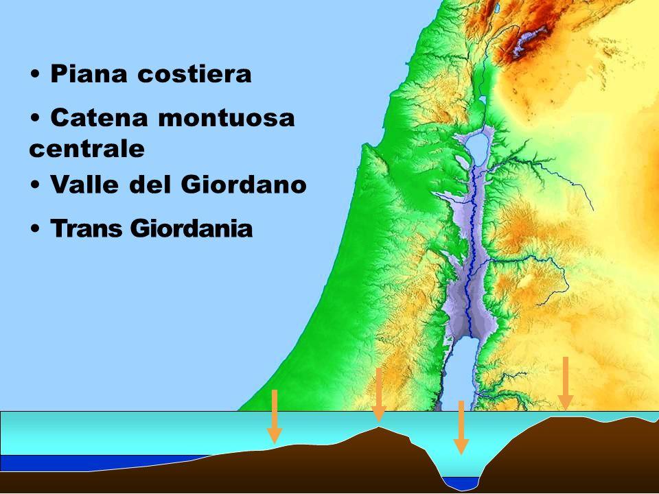Piana costiera Catena montuosa centrale Valle del Giordano Trans Giordania