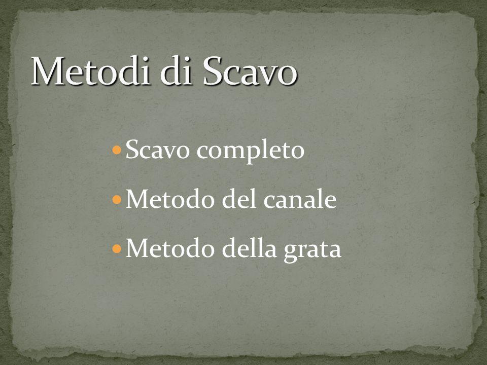 Metodi di Scavo Scavo completo Metodo del canale Metodo della grata
