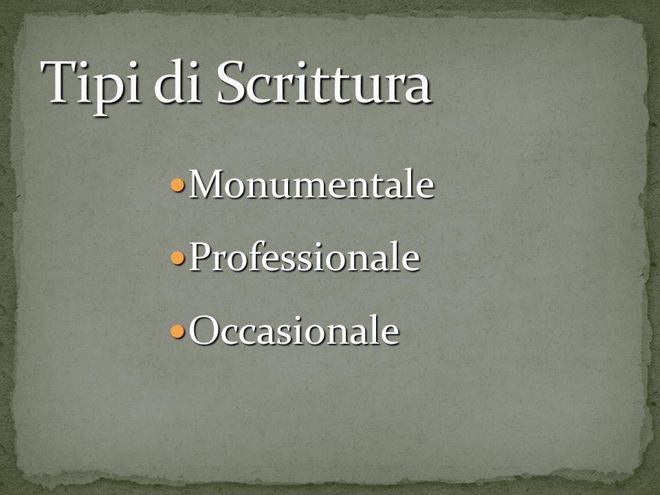 Tipi di Scrittura Monumentale Professionale Occasionale