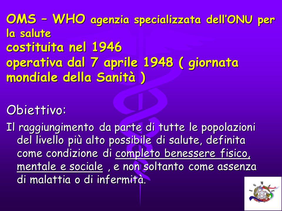 OMS – WHO agenzia specializzata dell'ONU per la salute costituita nel 1946 operativa dal 7 aprile 1948 ( giornata mondiale della Sanità )