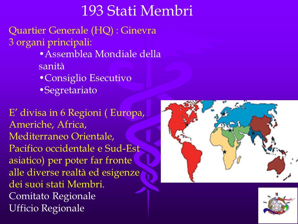 193 Stati Membri Quartier Generale (HQ) : Ginevra 3 organi principali: