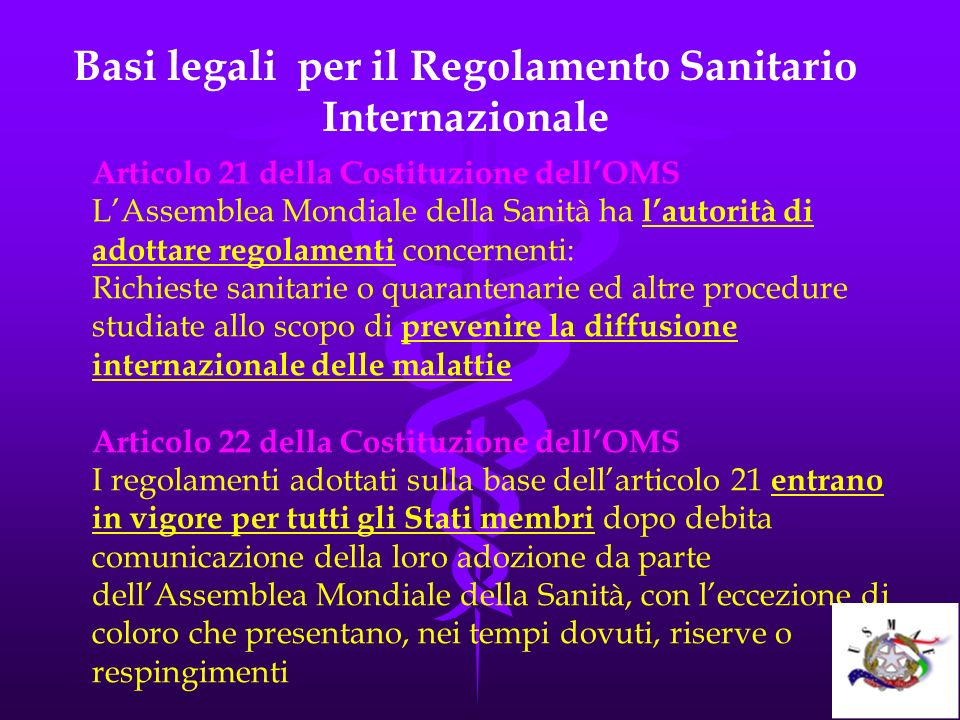 Basi legali per il Regolamento Sanitario Internazionale