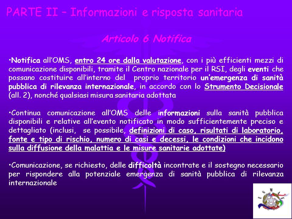 PARTE II – Informazioni e risposta sanitaria