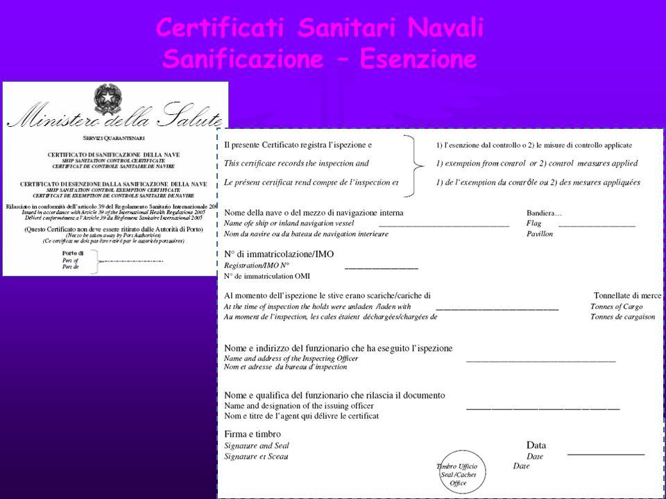 Certificati Sanitari Navali Sanificazione – Esenzione