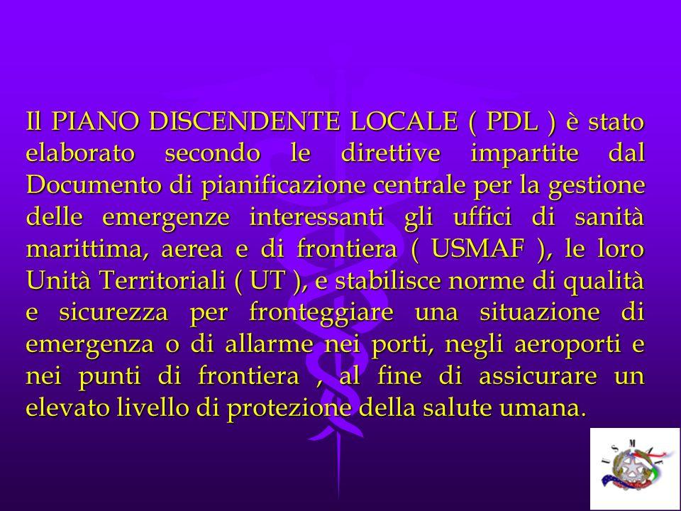 Il PIANO DISCENDENTE LOCALE ( PDL ) è stato elaborato secondo le direttive impartite dal Documento di pianificazione centrale per la gestione delle emergenze interessanti gli uffici di sanità marittima, aerea e di frontiera ( USMAF ), le loro Unità Territoriali ( UT ), e stabilisce norme di qualità e sicurezza per fronteggiare una situazione di emergenza o di allarme nei porti, negli aeroporti e nei punti di frontiera , al fine di assicurare un elevato livello di protezione della salute umana.