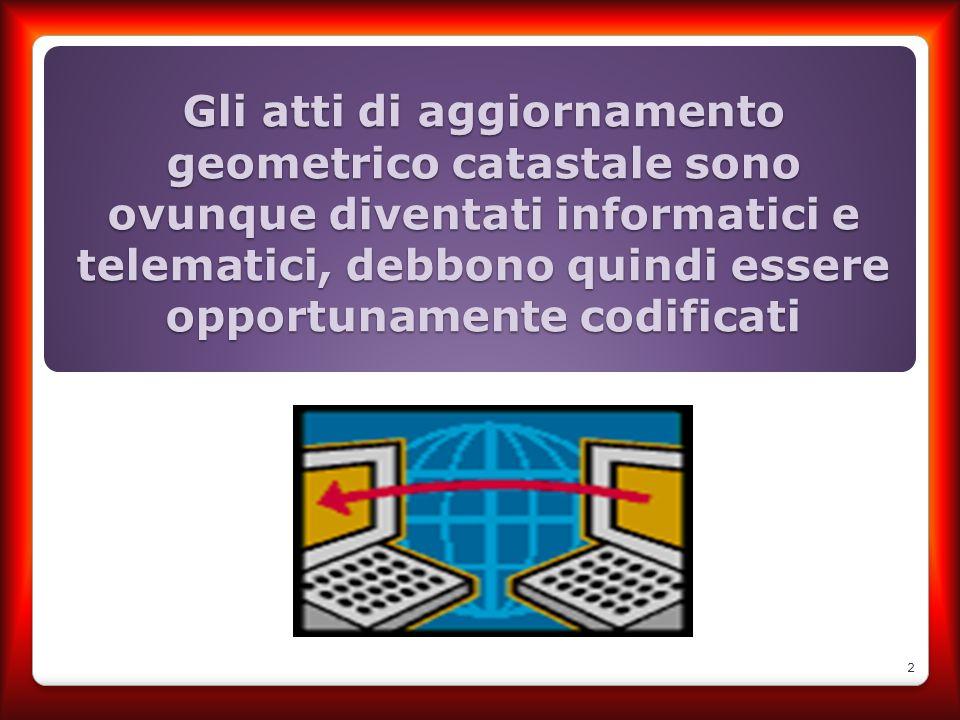 Gli atti di aggiornamento geometrico catastale sono ovunque diventati informatici e telematici, debbono quindi essere opportunamente codificati
