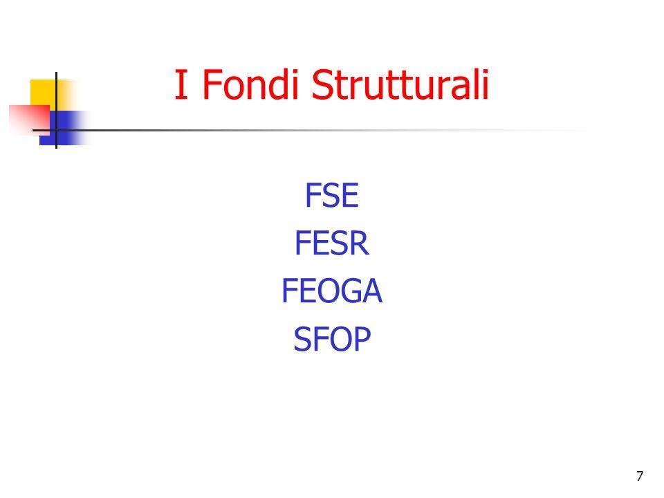 I Fondi Strutturali FSE FESR FEOGA SFOP