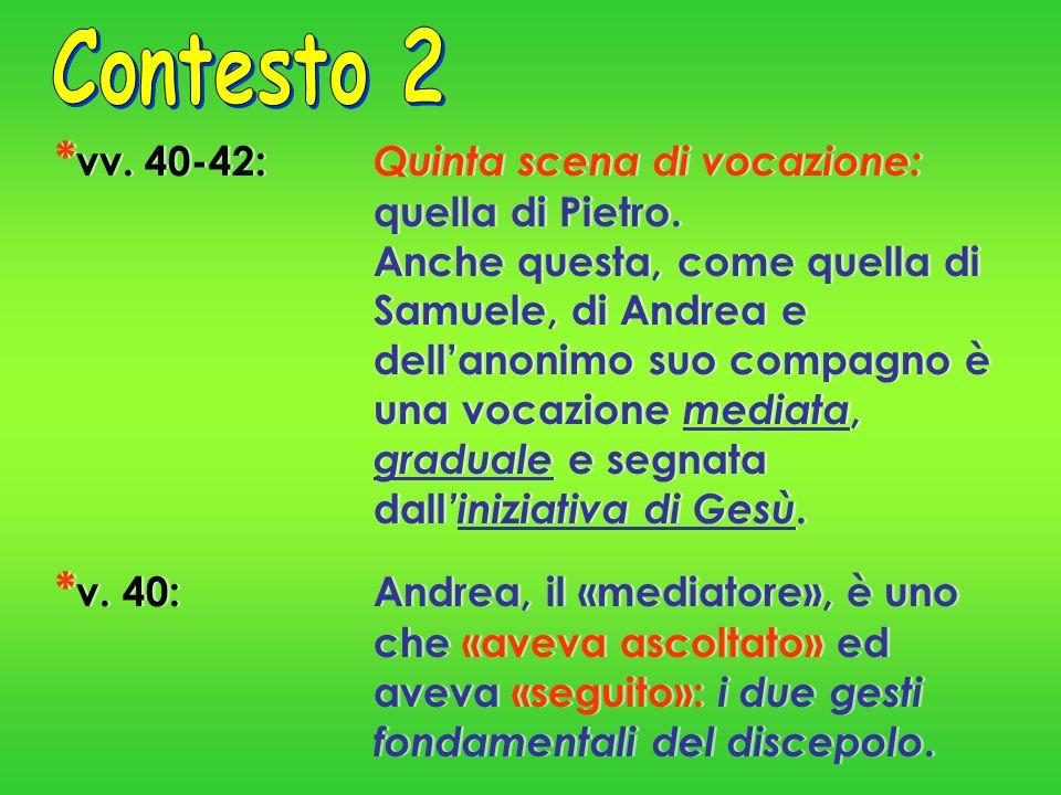 Contesto 2 *vv. 40-42: Quinta scena di vocazione: quella di Pietro.