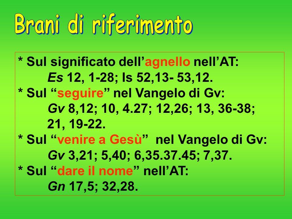 Brani di riferimento* Sul significato dell'agnello nell'AT: Es 12, 1-28; Is 52,13- 53,12.