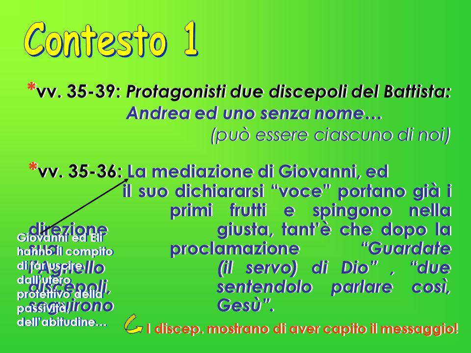 Contesto 1 *vv. 35-39: Protagonisti due discepoli del Battista: Andrea ed uno senza nome… (può essere ciascuno di noi)