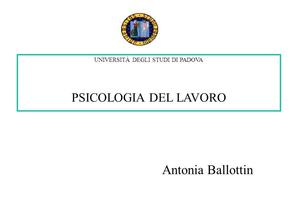 UNIVERSITÀ DEGLI STUDI DI PADOVA PSICOLOGIA DEL LAVORO