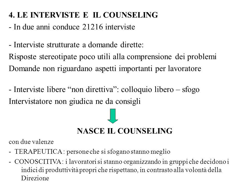 4. LE INTERVISTE E IL COUNSELING