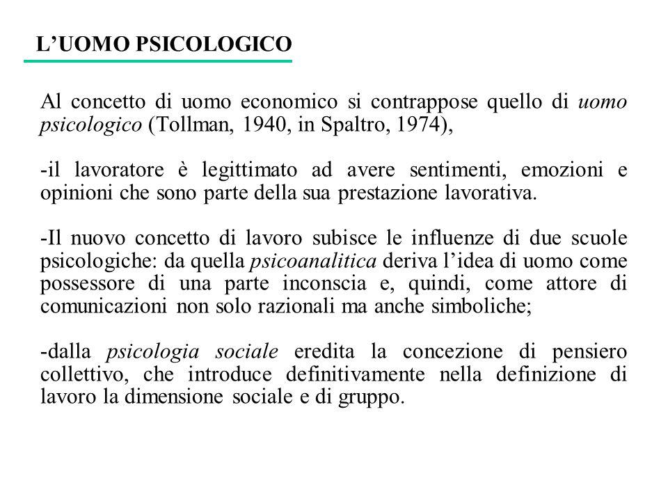 L'UOMO PSICOLOGICO Al concetto di uomo economico si contrappose quello di uomo psicologico (Tollman, 1940, in Spaltro, 1974),