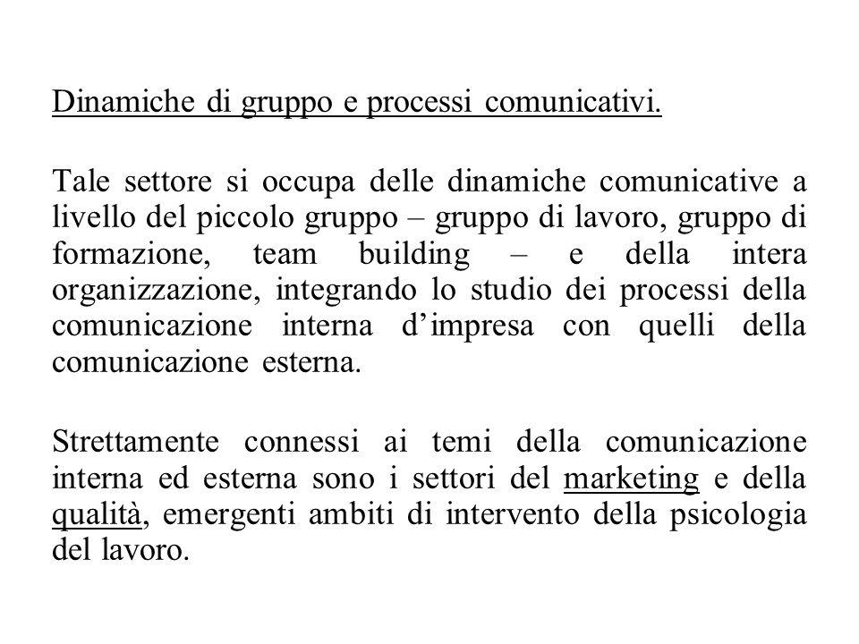 Dinamiche di gruppo e processi comunicativi.