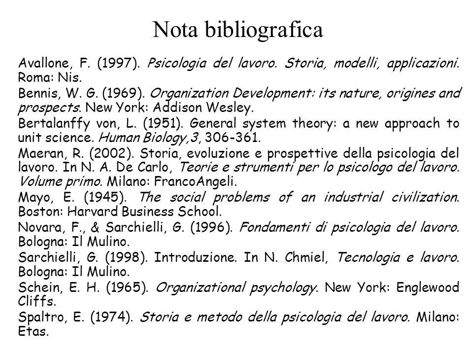 Nota bibliografica Avallone, F. (1997). Psicologia del lavoro. Storia, modelli, applicazioni. Roma: Nis.
