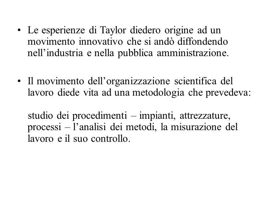 Le esperienze di Taylor diedero origine ad un movimento innovativo che si andò diffondendo nell'industria e nella pubblica amministrazione.