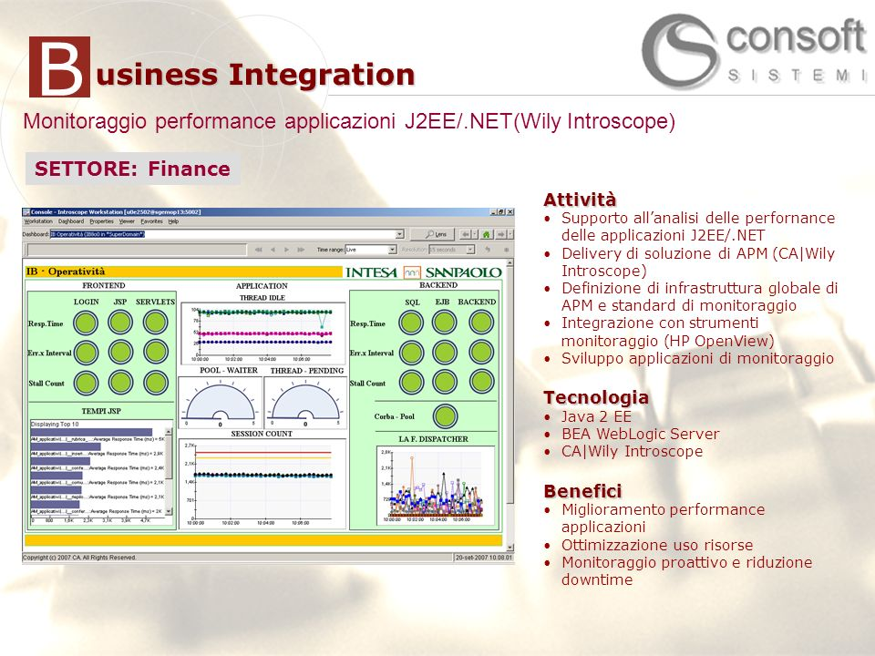 Monitoraggio performance applicazioni J2EE/.NET(Wily Introscope)