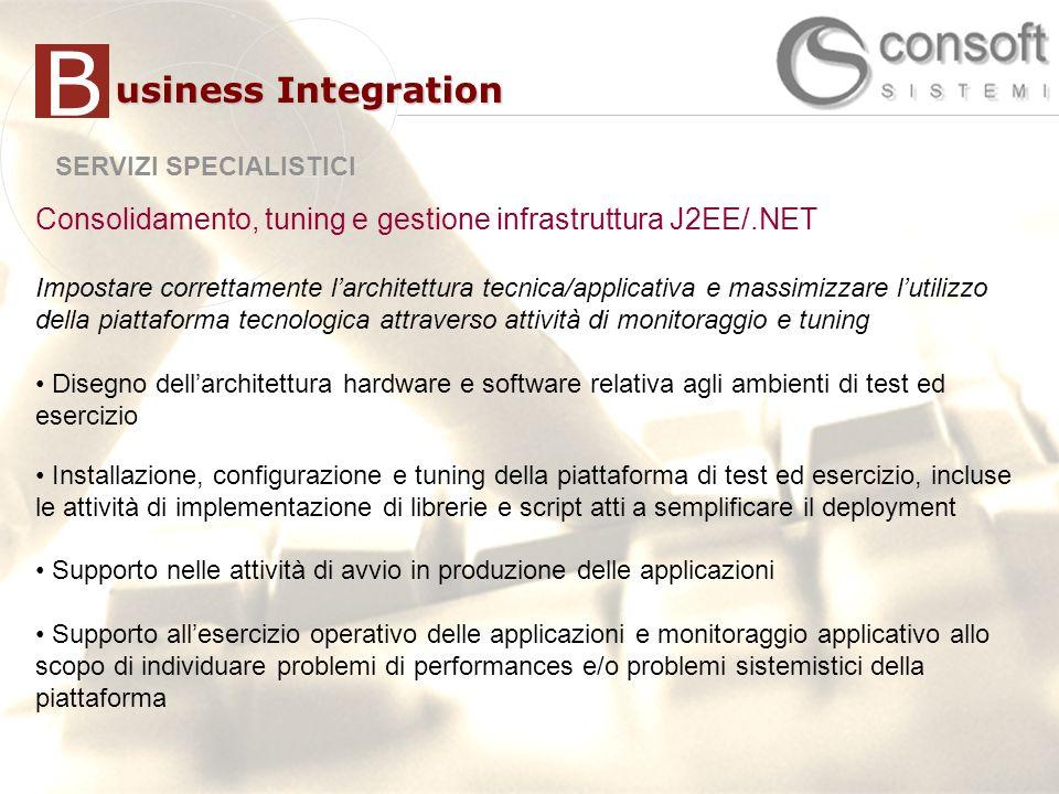 B usiness Integration. SERVIZI SPECIALISTICI. Consolidamento, tuning e gestione infrastruttura J2EE/.NET.