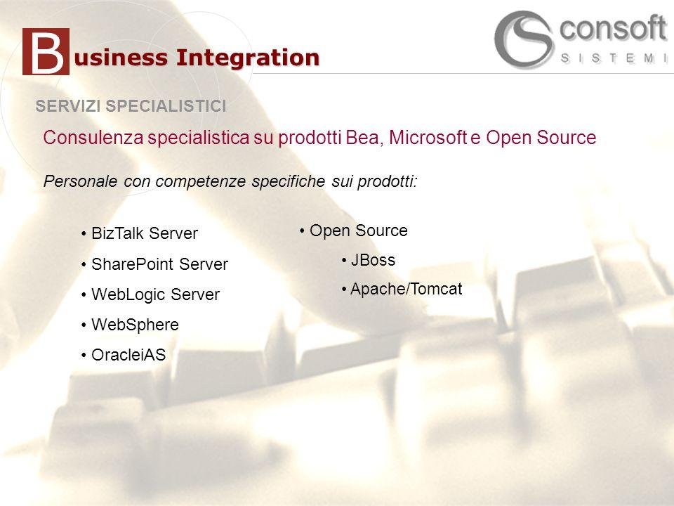 B usiness Integration. SERVIZI SPECIALISTICI. Consulenza specialistica su prodotti Bea, Microsoft e Open Source.