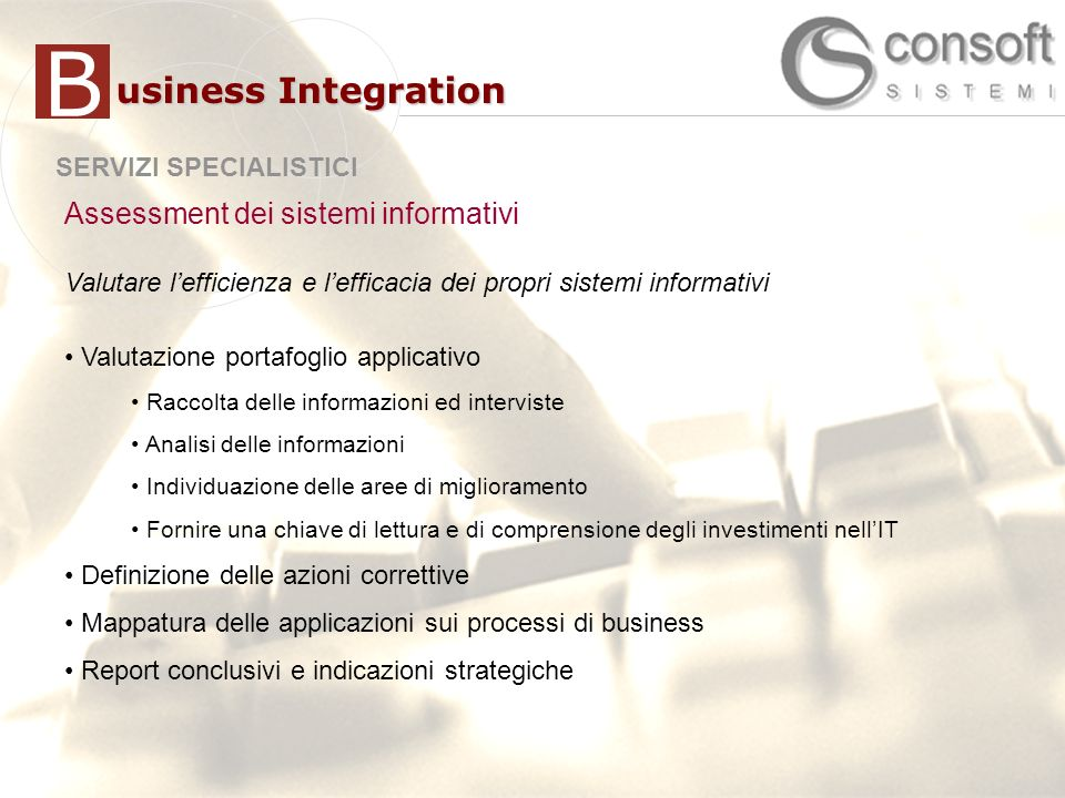B usiness Integration Assessment dei sistemi informativi
