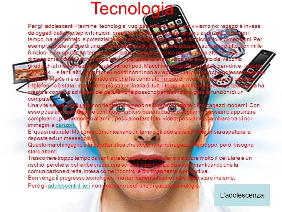 Tecnologia L'adolescenza