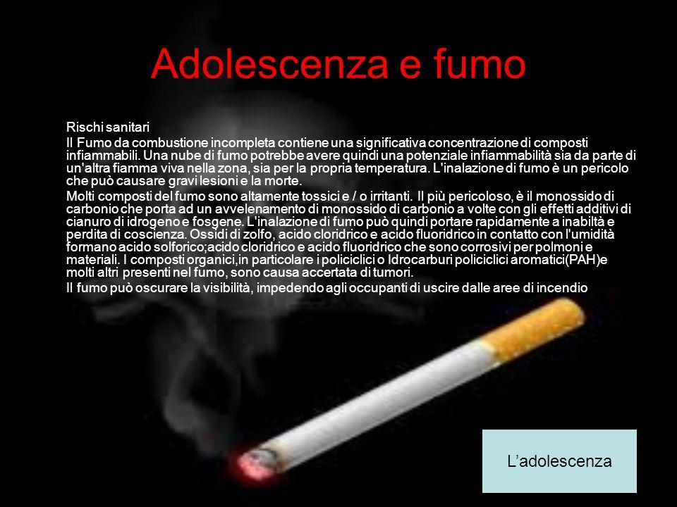 Adolescenza e fumo L'adolescenza Rischi sanitari